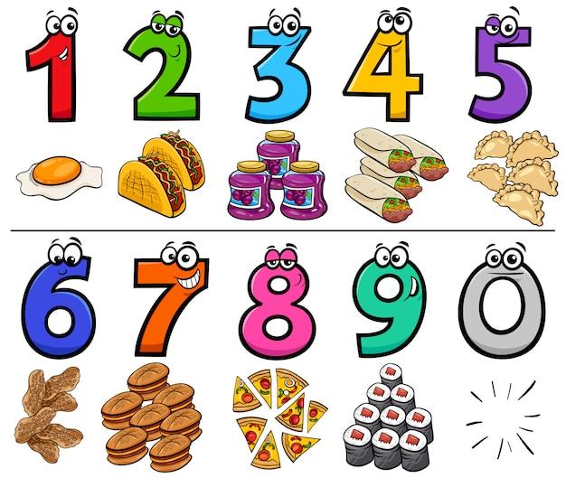 Numéros de dessins animés éducatifs sertis d'objets de nourriture Vecteur Premium