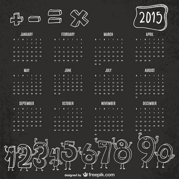 Numéros drôles 2015 de calendrier Vecteur gratuit