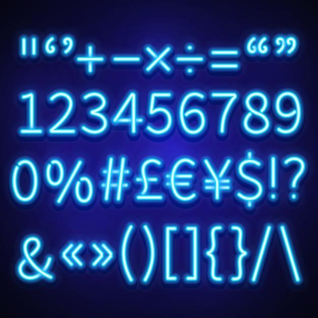 Numéros de néon rougeoyant, symboles de texte et signes monétaires composés, police Vecteur Premium