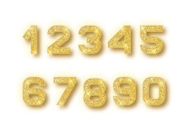 Numéros De Paillettes D'or Sertis D'ombre Vecteur Premium