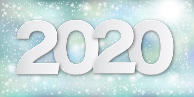 Numéros de papier bonne année 2020 Vecteur Premium