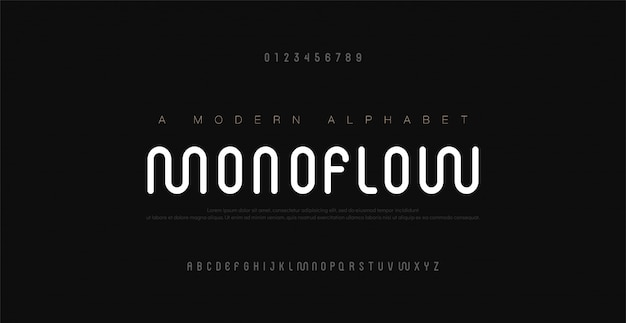 Numéros Et Polices De L'alphabet Moderne Minimal. Abstrait Urbain Ligne Arrondie Police Typographie Police Majuscule. Vecteur Premium