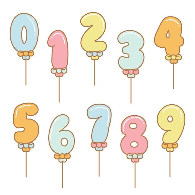 Numéros de vecteur ballon dessin animé Vecteur Premium