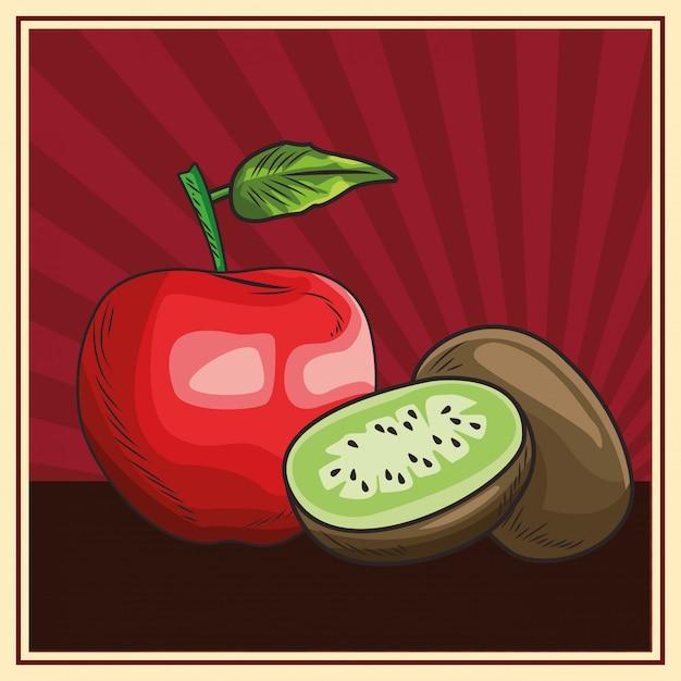 Une nutrition saine des fruits Vecteur Premium
