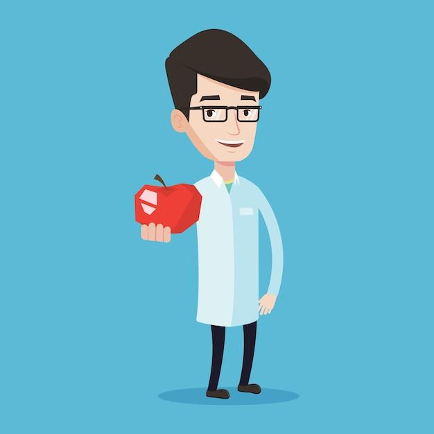 Nutritionniste Offrant Une Pomme Rouge Fraîche. Vecteur Premium
