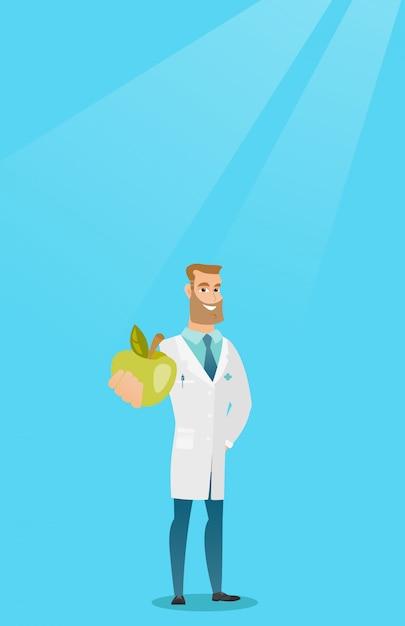 Nutritionniste offrant des pommes fraîches. Vecteur Premium