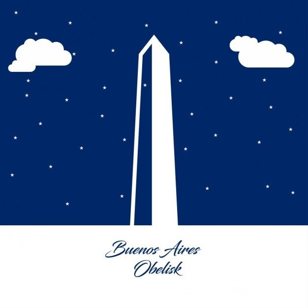 Obelisco De Buenos Aires Silhouette Abstraite Sur Papier Bleu Fond Vecteur gratuit