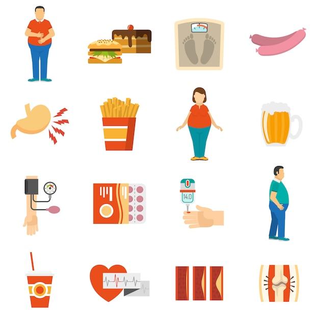Obésité problème icônes Vecteur gratuit