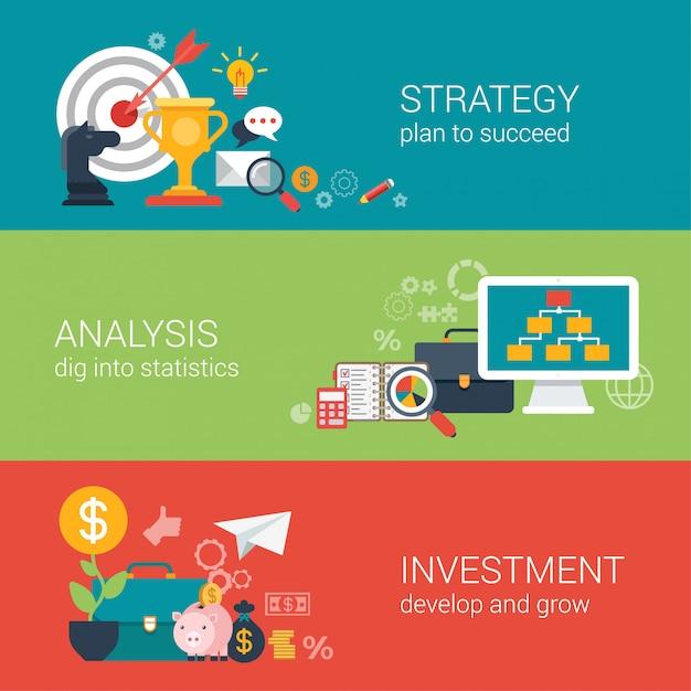 Objectif Cible De Stratégie De Réussite Commerciale De Style Plat, Analyse Financière, Concept D'infographie D'investissement De Croissance. Vecteur gratuit