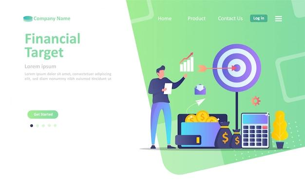 Objectif financier, jeu de fléchettes avec flèche, Vecteur Premium