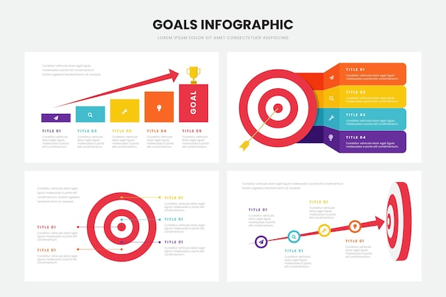 Objectifs Style Infographique Vecteur gratuit