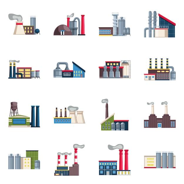 Objet et industrie isolés set industrie et construction Vecteur Premium