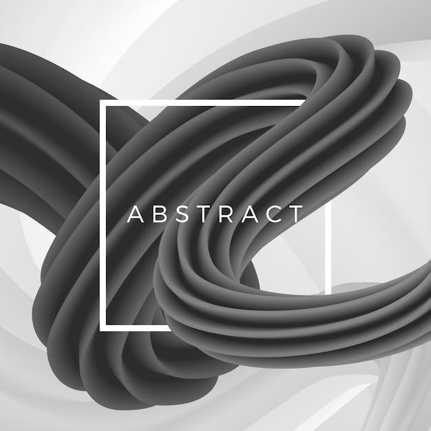 Objet Ondulé Abstrait Sur Fond Géométrique Avec Cadre Blanc. Illustration Vecteur Premium