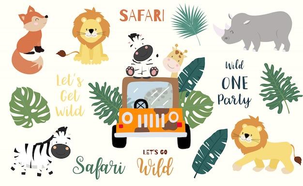 Objet safari serti de renard, girafe, zèbre, lion, feuilles, voiture. Vecteur Premium
