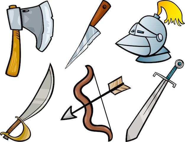 Objets D'armes Anciennes Dessin Animé Jeu D'illustrations | Vecteur Premium