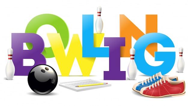 Objets de bowling. mot de bowling Vecteur Premium