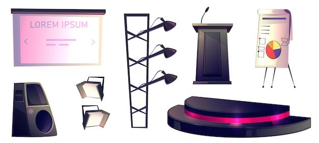 Objets De Conférence, Tribune, Scène Et Lumière Vecteur gratuit