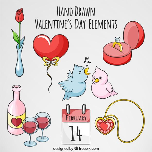 Objets d coratifs dessin s la main pour saint valentin for Objets decoratifs