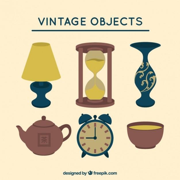 Objets décoratifs vintage Vecteur gratuit