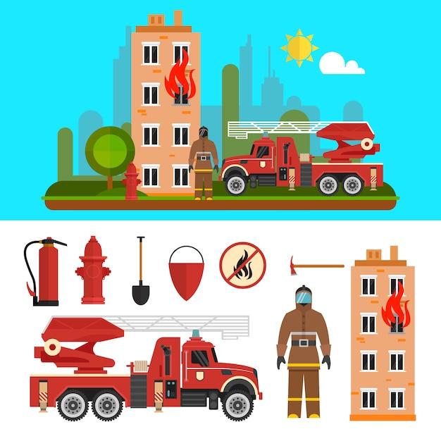 Objets du département de lutte contre le feu isolés. caserne de pompiers et pompiers Vecteur Premium