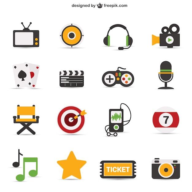 Objets emblématiques colorés Vecteur gratuit