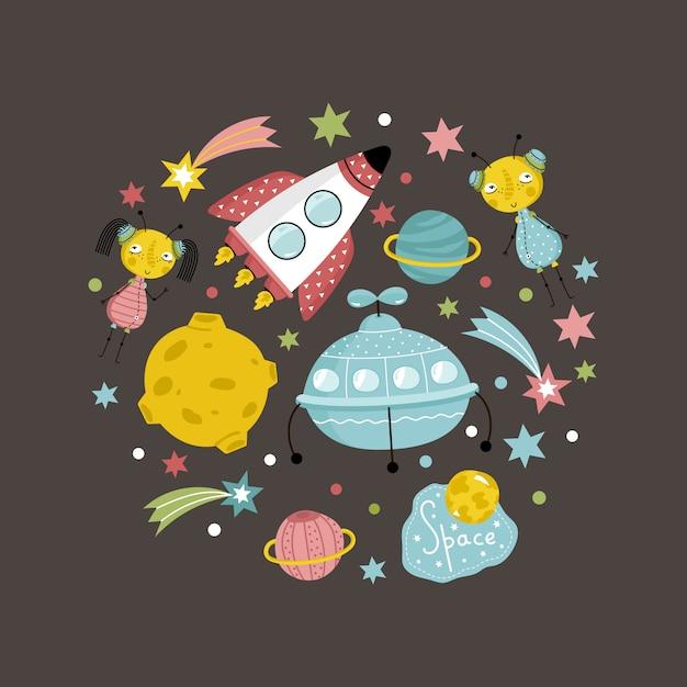 Objets de l'espace dans la collection de vecteur de style dessin animé Vecteur Premium