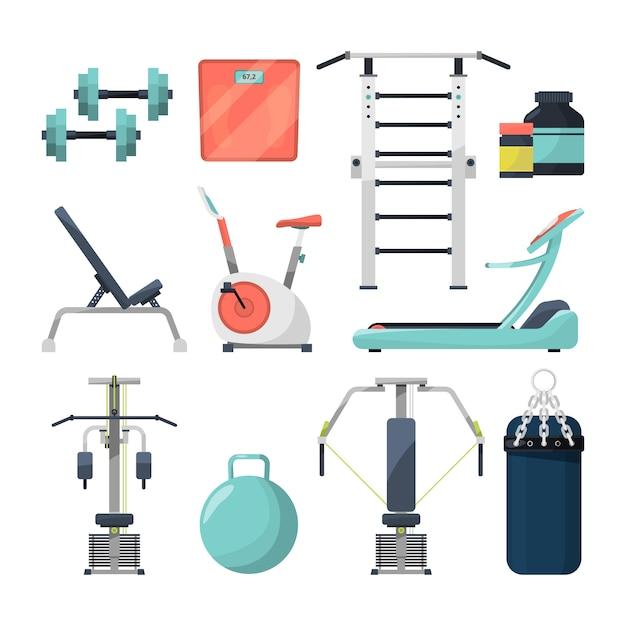 Objets de fitness gym haltère et haltère Vecteur Premium