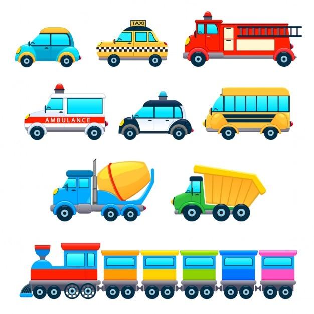 Objets funny vehicles vecteur de dessin animé isolé Vecteur gratuit