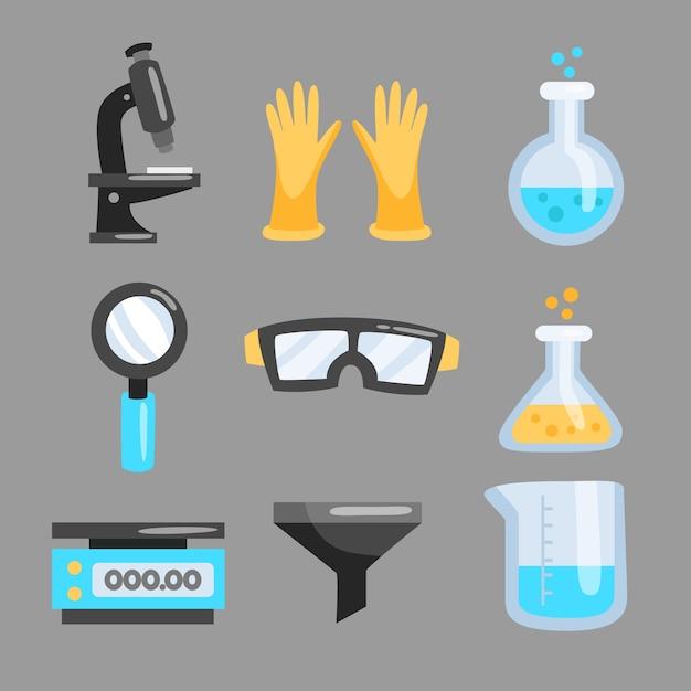 Objets De Laboratoire Scientifique Isolés Sur Fond Vecteur gratuit