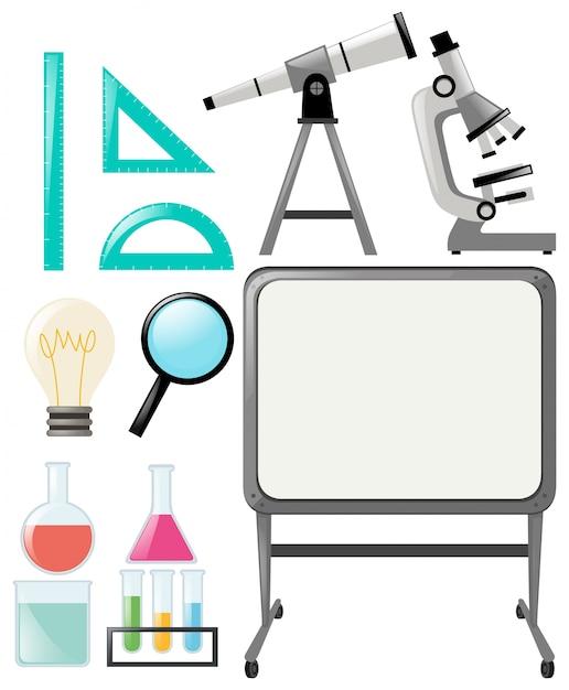 Objets scientifiques et tableau blanc Vecteur gratuit