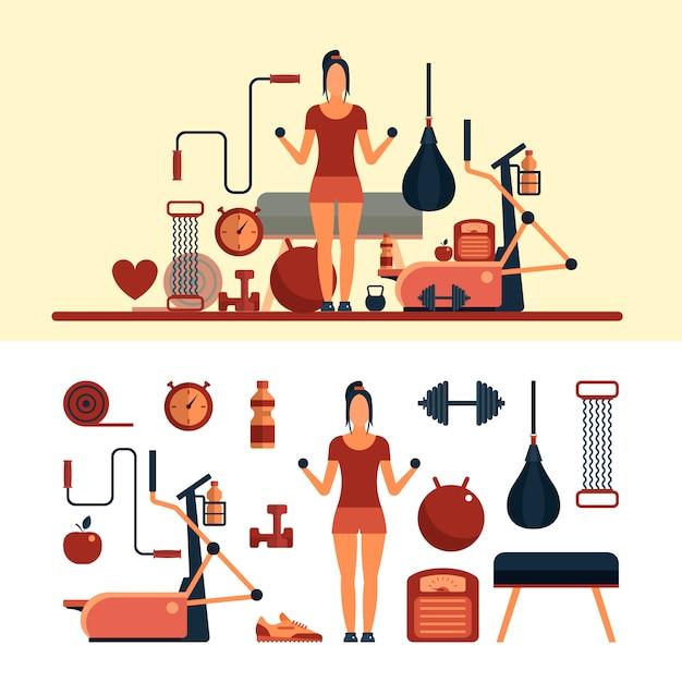 Objets de sport de remise en forme. femme travailler dans un gymnase. centre de fitness et équipement de gym. Vecteur Premium