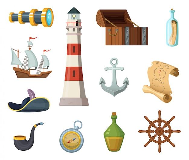 Objets vectoriels marins. coffre, boussole, carte au trésor et autres objets de style dessin animé Vecteur Premium