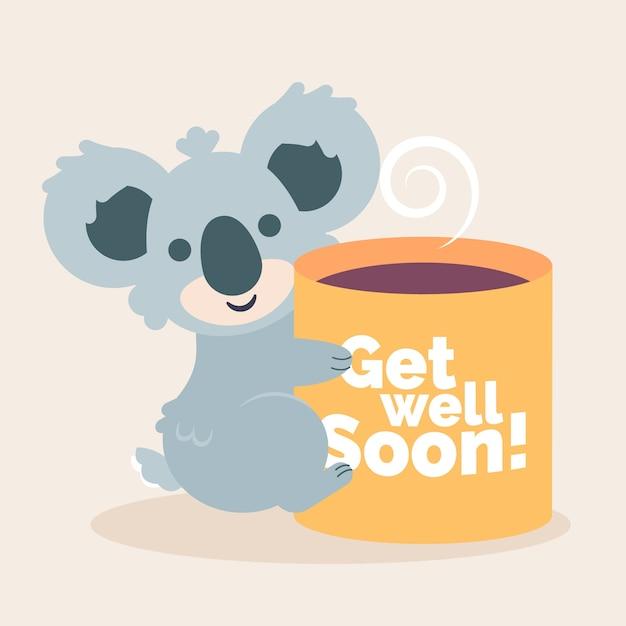 Obtenez Bien Bientôt Smiley Koala Et Café Vecteur gratuit
