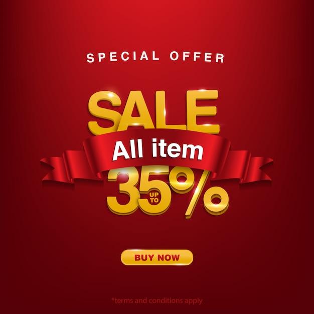 Obtenez la promo, offre spéciale vente tous les articles jusqu'à 35% Vecteur Premium