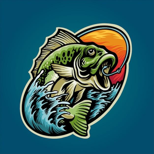Obtenir une illustration de poisson de basse Vecteur Premium