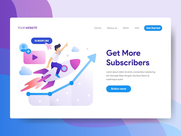 Obtenir plus d'abonnés illustration sur la page d'accueil Vecteur Premium