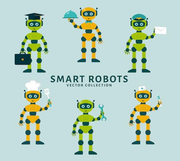 Les occupations de robots. collection de vecteur. Vecteur Premium