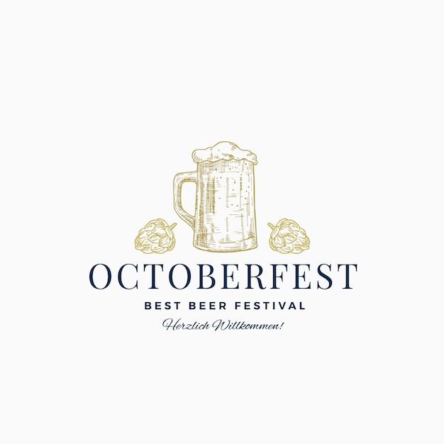 Octoberfest Best Beer Festival Abstract Sign, Symbole Ou Modèle De Logo. Croquis De Chope De Bière Dessiné à La Main Avec Houblon Et Typographie Classique. Emblème Ou étiquette De Bière Vintage. Vecteur Premium