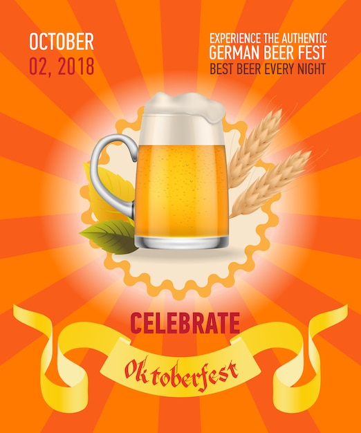 Octoberfest, meilleure conception d'affiche orange de bière Vecteur gratuit
