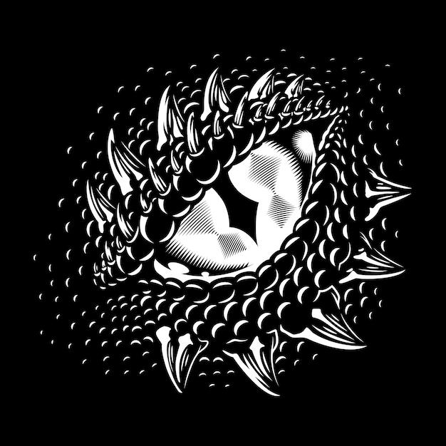 Oeil De Dragon Monochrome Vecteur gratuit