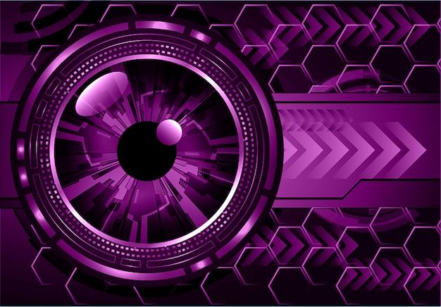 Oeil Pourpre Cyber Circuit Futur Technologie Concept Fond Vecteur Premium