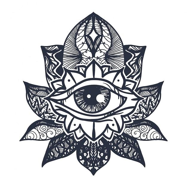 Oeil Sur Tatouage De Fleur De Lotus Vecteur Premium