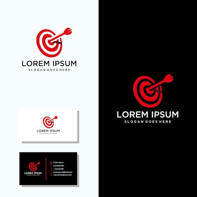 Oeil de taureaux logo avec carte de visite logo Vecteur Premium