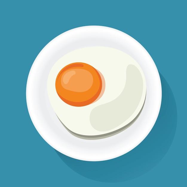 Oeuf au plat sur la plaque du petit déjeuner alimentaire icône illustration vecteur Vecteur Premium