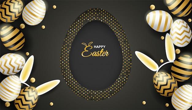 Œuf de célébration de pâques joyeux pâques sur fond noir. Vecteur Premium