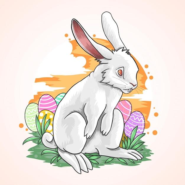 Oeuf de lapin paques couleur plein ciel Vecteur Premium