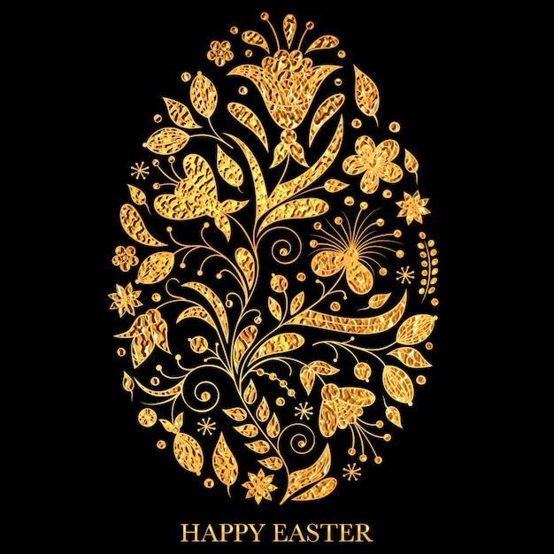 Oeuf de pâques floral avec texture dorée sur fond noir. Vecteur Premium