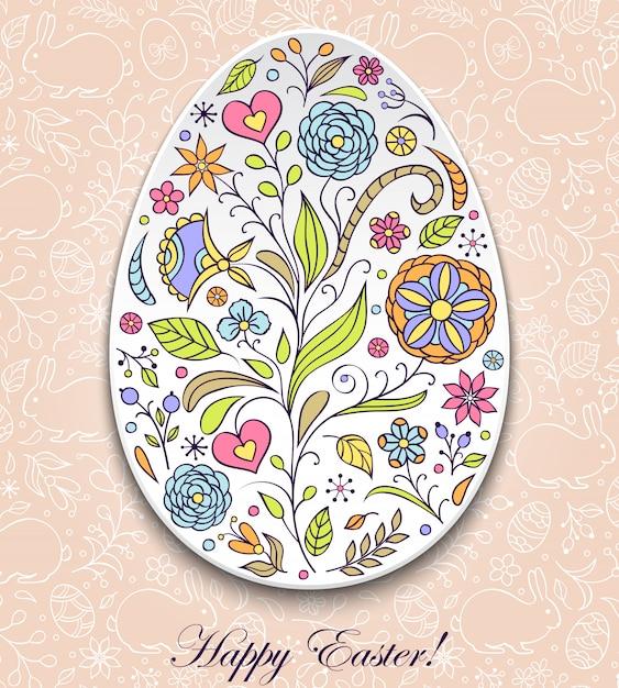 Œuf de pâques floral Vecteur Premium
