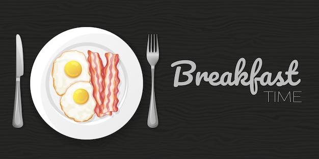 Oeufs Au Plat Et Bacon Sur Fond Noir Bois. Flyer Horizontal. Objet Pour Emballage, Publicités, Menu. Illustration. Dessin Animé. Vecteur Premium