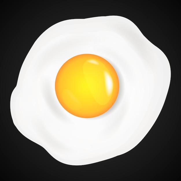 Œufs au plat, omelette en style cartoon. Vecteur Premium